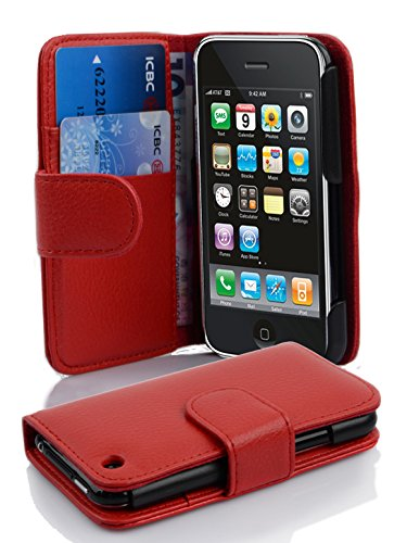 Cadorabo - Book Style Wallet Design for Apple iPhone 3 / 3G / 3GS with 2 Card Slots and Money Pouch - Etui Case Cover Protection in CANDY-APPLE-RED