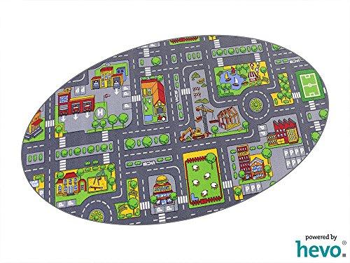 Stadt Mix HEVO® Strassen Spielteppich | Kinderteppich 125x195 cm Ellipse