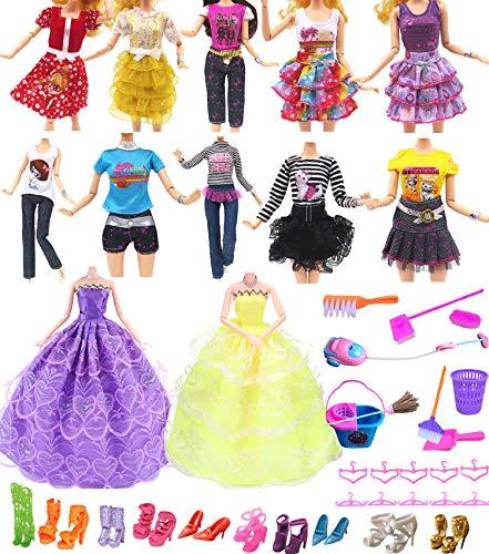 """Hey~Yo Puppenkleidung für Barbie, 11"""" Puppe Zubehör 41 Pcs-Enthalten 2 Stück Hochzeit Kleid + 10 Set Mode Freizeitkleidung + 10 Kleiderbügel + 10 Paar Schuhe+9 Reinigungswerkzeuge"""