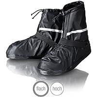 Amazy Regen Überschuhe inkl. Gratis-Aufbewahrungsbeutel – Wasserdichte und rutschfeste Schuhüberzieher mit Reflektoren für trockene, saubere Schuhe auch bei Regen, Schnee oder Staub