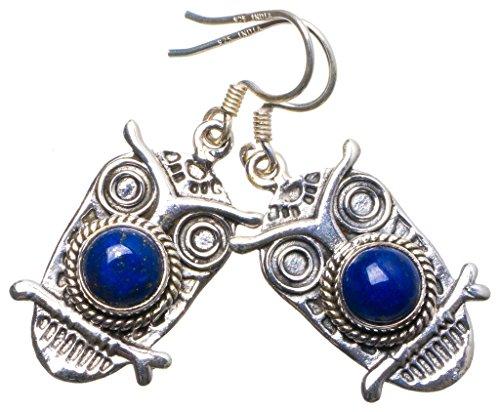 Brighton Sterling Silber Schmuck (StarGems(tm) 925er Sterling Silber Lapis Lazuli Einzigartig Handgefertigt Ohrringe 3,81cm Blue X4035)