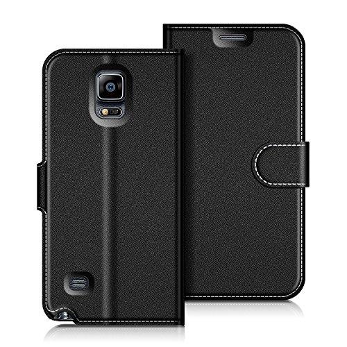 COODIO Samsung Galaxy Note 4 Hülle Leder Lederhülle Ledertasche Wallet Handyhülle Tasche Schutzhülle mit Magnetverschluss/Kartenfächer für Samsung Galaxy Note 4, Schwarz
