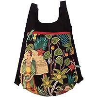 Mochila de tela original para adultos Frida Kahlo, Mochila exclusiva hecha a mano para mujer y hombre