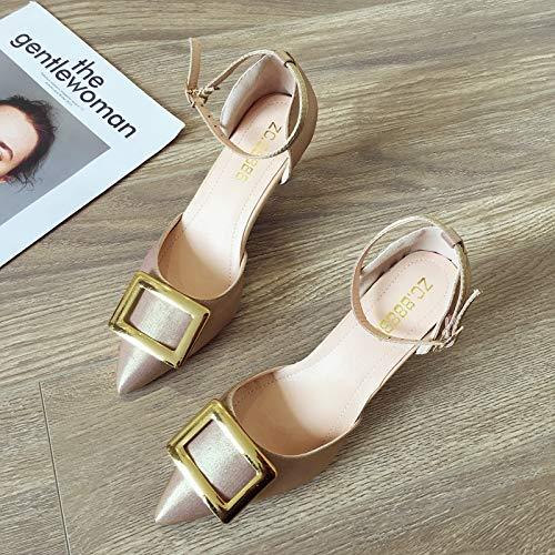 Uhrtimee Hochhackige Schuhe weiblich 2019 Sommer Neue Wortschnalle mit Baotou Stiletto Sandalen koreanische Version der Metallschnalle Wilde Schuhe, 36, Goldpulver Lace Up Ballet Slippers