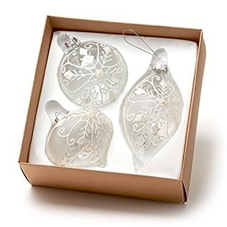 Set de 3bolas de árbol de Navidad de cristal con copos de nieve blancos (8–12cm)