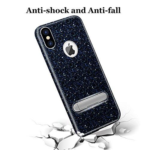 Custodia iPhone X/10 Cover Case, WZE-Shock Assorbimento, copertura TPU resistente ai graffi e materasso in plastica magnetica Bling Crystal Clear Premium 3 Layer Miscela Custodia protettiva per iPhone Nero
