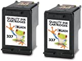 Refilled 2 X HP 337 Black Printer Ink Cartridges Photosmart C4180 Twin Pack