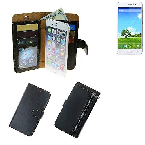 K-S-Trade Für Bestore Star Note 5 N5D N9200 Portemonnaie Schutz Hülle schwarz aus Kunstleder Walletcase Smartphone Tasche für Bestore Star Note 5 N5D N9200 - vollwertige Geldbörse mit Handyschutz