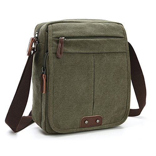 MeCool Herren Vintage Umhängetasche Messenger Schultaschen Canvas Retro Tasche für Reisetasche Sport Reisetaschen Militär Lässige Reisetasche Strandtasche Schultertasche Grün