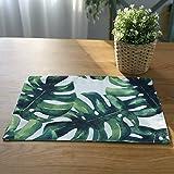 LouisaYork Wärmedämmung Rutschfest Tischsets, Louisa York Tisch Mats Set 4, PVC Tisch-Sets Waschbar Tisch Matten für Küche Esstisch, Palm Blätter