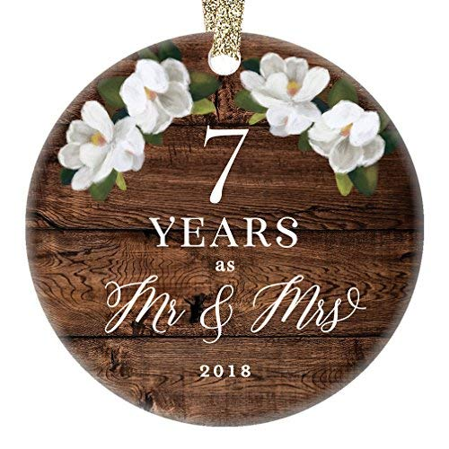 qidushop 2018 Country Christmas Ornament Mr & Mrs Married Sieben Jahre 7. Hochzeitstag Ehemann & Ehefrau Bauernhaus Sammlerstück für Weihnachten