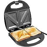Dunlop Sandwichtoaster 750W 2x 2 Scheiben Dreiecks-Toasts, Schwarz/Silber, Sandwichmaker Elektrogrill Tischgrill