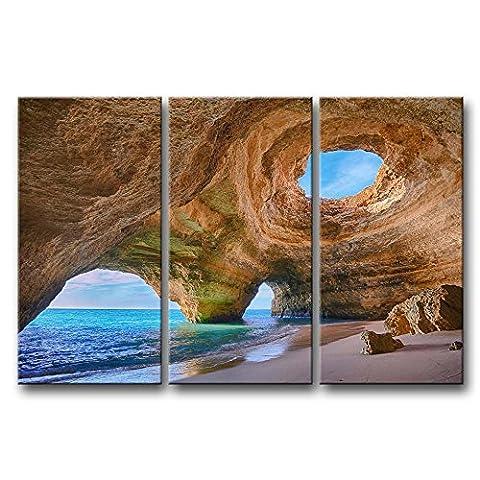 3Panneaux Art mur bleu peinture Algarve grottes Portugal petits Big grottes de plage de la Photo sur toile Paysage marin Photos huile pour Home Decor imprimé moderne Décoration pour cuisine