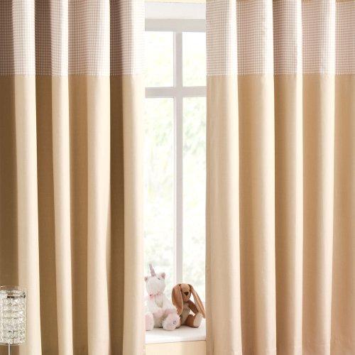 Top Gingham Wärmevorhang mit Ösen, halb blickdicht, 168cm x 137cm (Breite x Länge), natur Beige / Latte