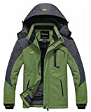 Wantdo Chaqueta de Montaña Impermeable para Hombres de Abrigo de Esquí Large Pasto Verde