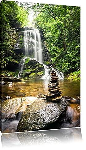 Zen Steine vor Wasserfall, Format: 60x40 auf Leinwand, XXL riesige