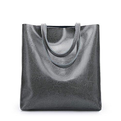 ZPFME Frauen Handtasche Rindsleder Damen Tasche Mode Mädchen Party Retro Dame Einfach Große Kapazität Mode Handtasche Einkaufstasche Gray