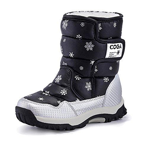 Eagsouni Bottes de Neige Fille Chaussures Hivernales Bottes et bottines à doublure chaude fille Noir