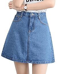 Mujeres Casual Mini Faldas Cintura Alta Corta Falda De Mezclilla