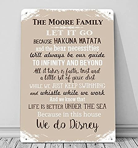 Personalised In this House we do Disney A4 metal sign plaque wall art STONE