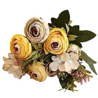 PokYr25eb Flores Artificiales, 1 Pieza de Camelia Artificial para el hogar, jardín, Boda, Fiesta, decoración, Color Verde