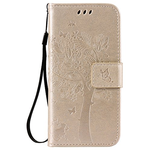 (Sleeping Bear)Apple iPhone 7 Case/Custodia/Caso, squisito elegante lalbero e il gatto il disegno in rilievo PU Leather telefono Caso/custodia ,[Lanyard] Retro Puro Color Protettiva Flip carta vibraz Oro