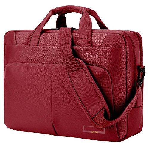 Laptop Tasche BRINCH 15,6 Zoll Nylon Multi-Fach Laptop Schultertasche Messenger Bag geräumig Aktentasche Umhängetasche Businesstasche Arbeitstasche für 15 - 15,6 Zoll Laptop / Notebook / Macbook,Rot
