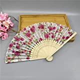 VIGE 1 Stück 21 cm Folding Fan Zarte Rose Pfirsich Blume Pflaumenblüte Japanischen Pflaumenblüte Design Seide Kostüm Party - Weiß