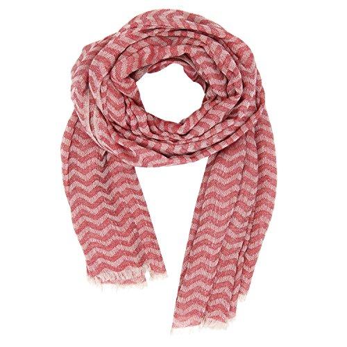 KASHFAB Kashmir Frauen Herren Winter Mode Streifen Schal, Wolle Seide stole, Weich Lange Schal, Warm Paschmina Beige Rot (Herren Streifen Gemalt)