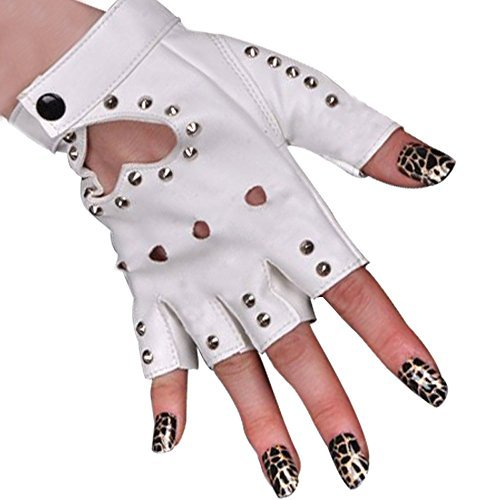BEESCLOVER Women PU Leather Motorcycle Bike Car Fingerless Performances Glove (White)