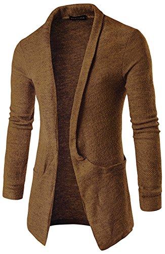 WHATLEES Unisex Hip Hop Urban Basic Schlichte Strickjacke Cardigan mit Kontrast Einsatz B338-Brown-L