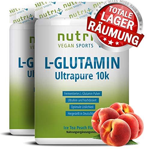 L-GLUTAMIN mit Pfirsich-Eistee Geschmack - 1000g Pulver - 99,95% rein - vegan & hochdosiert - Nutri-Plus L-Glutamine Powder Ice-Tea Peach Flavour 1kg - hergestellt in Deutschland