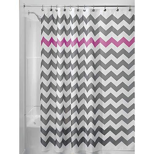 iDesign Chevron Duschvorhang Textil   pflegeleichter Duschvorhang aus Stoff mit verstärkten Löchern   Badewannenvorhang mit Zickzack-Muster   Polyester grau/violett