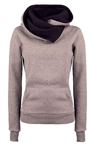 Ecowish da donna speciale desigan collo alto maniche lunghe in pile cappuccio e Logo Khaiki  S