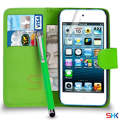 Apple iPod Touch 5 Green PU-Leder-Mappen-Schlag-Fall-Abdeckungs-Beutel + Big Stylus Pen + Screen Protector & Poliertuch VON SHUKAN (Ipod Big Touch Screen)