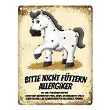 trendaffe - Metallschild mit weißes Pferd Motiv und Spruch: Bitte Nicht füttern - Allergiker