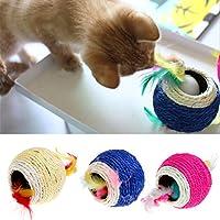 KatzenSpielzeug,Dairyshop Schöne Sisalseil Feder Kugel Teaser Scratch Chew Spielen Spielzeug für Haustier Katzen Kätzchen, Sisal