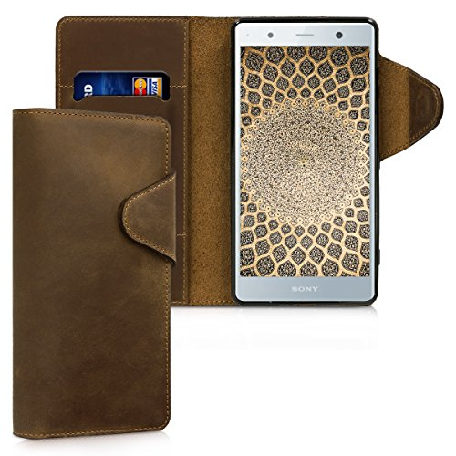 kalibri Sony Xperia XZ2 Premium Hülle - Leder Handyhülle für Sony Xperia XZ2 Premium - Handy Wallet Case Cover