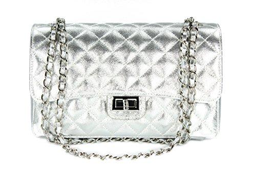 Belli ital. Echt Nappa Leder Abendtasche Damentasche Paris Umhängetasche gesteppt - Farbauswahl - 27x17x10 cm (B x H x T) (Silber)