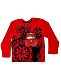 Kids Boys Disney Cars Lightning McQueen 100% Cotton Long Sleeve T-Shirt Top Childrens Size 2 - 8 Years