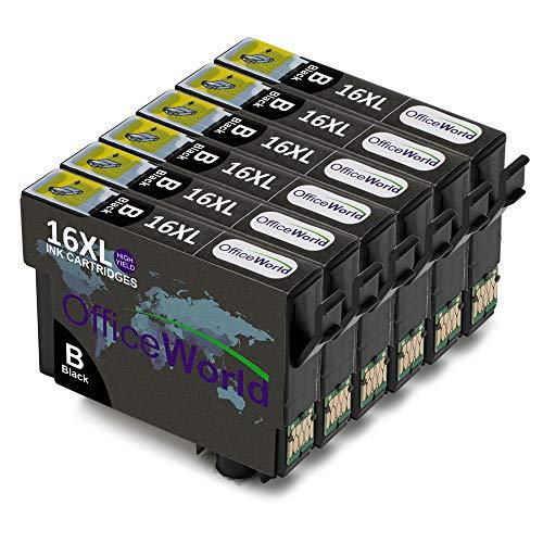 OfficeWorld Sostituzione per Epson 16 16XL Nero Cartucce d'inchiostro Alta Capacità Compatibile per Epson Workforce WF-2510WF WF-2630WF WF-2530WF WF-2760DWF WF-2520NF WF-2660DWF WF-2750DWF
