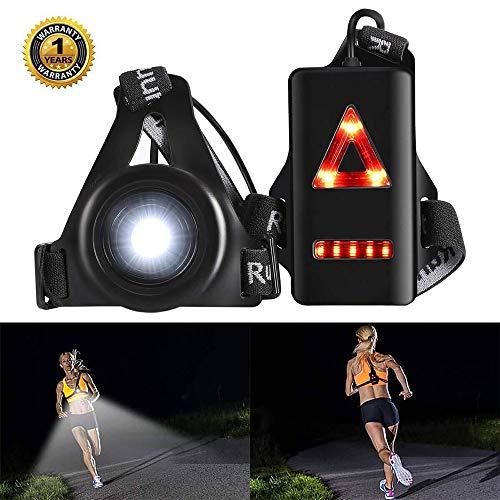 Molipat Luce Corsa Notturna, Running Light Petto Ricaricabile USB Impermeabile Lampada per Running Leggera e Confortevole per Campeggio, Lettura, Corsa, Pesca