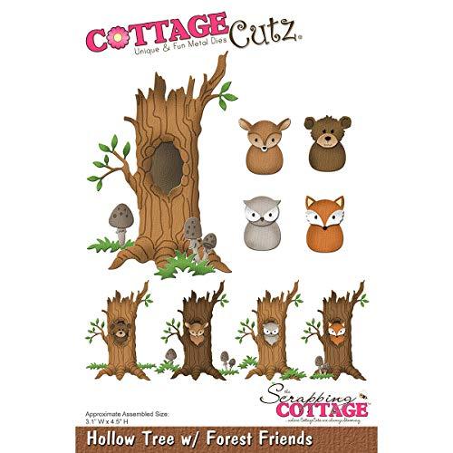 Cottage Cutz Die-Hollow Tree W/Forest Friends, 3.1