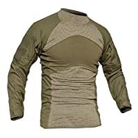 MAGCOMSEN Men's Tactical Military Combat Slim Fit T Shirt Long Sleeve with Zipper Pockets 7