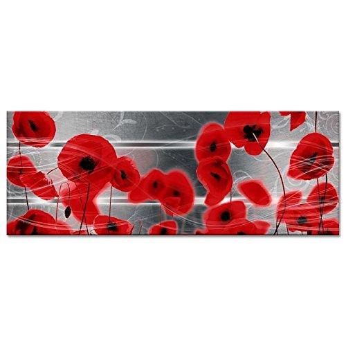 POPPY Tableau déco toile imprimée 80x30 cm rouge fleur