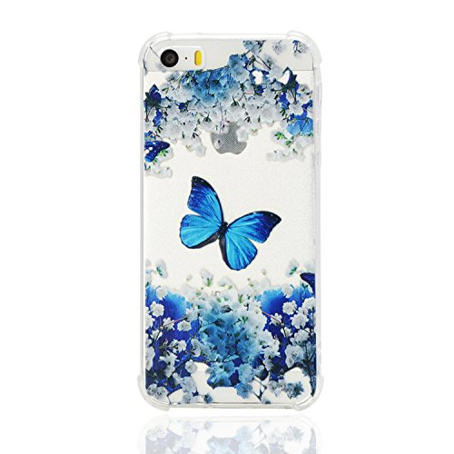 iPhone SE Clear TPU Case,Ultra Thin Transparent Slim Soft TPU Rubber Flexible Silicone Cover for iPhone 5S,Case for iPhone SE/5S/5,Funny Cute 3D Romantic Flower Animal Cartoon Design Printed Drawing Pattern Bumper Rubber Shockproof Non-slip Protective Back Cover Case for Apple iPhone 5S/SE/5