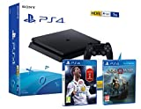 PS4 Slim 1Tb Negra Playstation 4 Consola Pack: FIFA 18 (Incl. Russia 2018) + God Of War