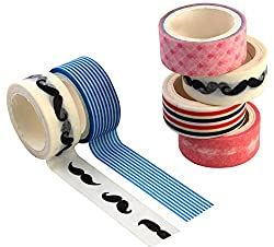 PIGLOO Colorful Adhesive Washi Paper Tapes, Length 3 Meter, Set of 6