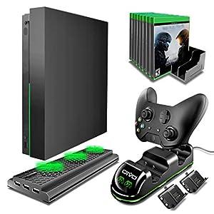 OIVO Xbox One X Zubehör-Set, 4-in-1, Xbox One X vertikaler Kühl-Ständer, Kühler mit Dual-Controller, Ladestation mit 2 Packungen wiederaufladbaren 600 mAh Akku, 10 Spiele Speicher