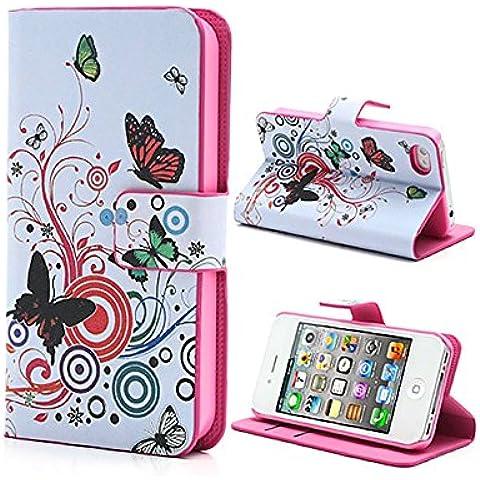 Mobile24 Custodia Portafoglio per iPhone 4 / 4S, con Parte per Biglietti da Visita o Carte di Credito, Case, Cover con funzione Sostegno - Motivo Farfalle / Cerchio - Farfalla Del Cerchio